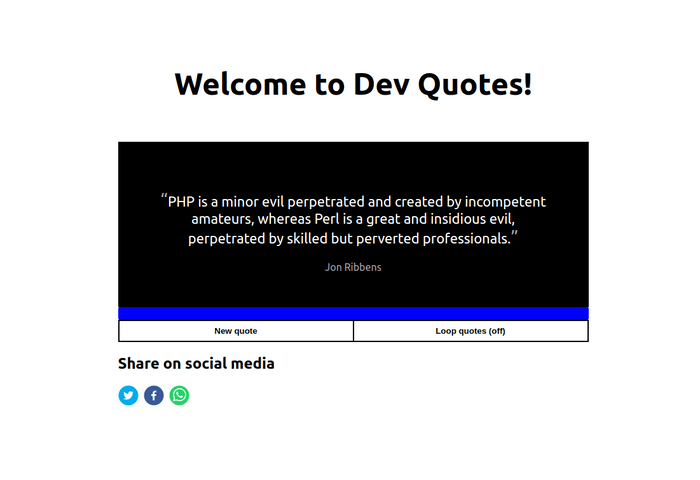 Dev Quotes homepage displaying a quote